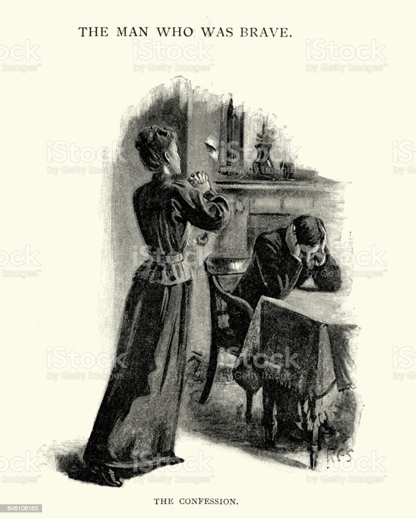 Victorian wife confessing to her husband vector art illustration