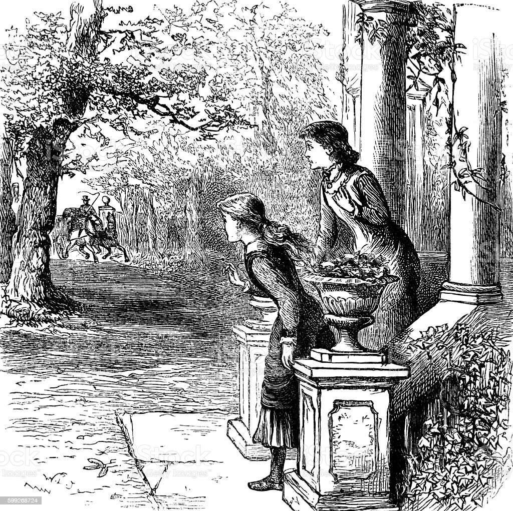 Victorian woman and girl awaiting the arrival of a carriage vector art illustration