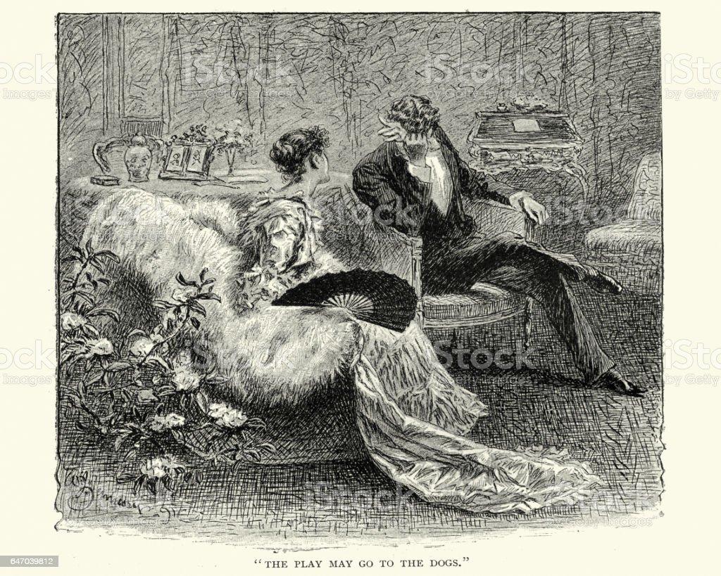 Victorian woman consoling an upset man vector art illustration