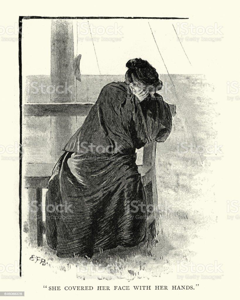 Victorian woman crying vector art illustration