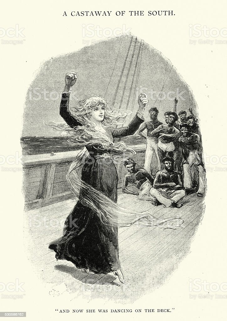 Victorian woman dancing on the deck of a ship vector art illustration