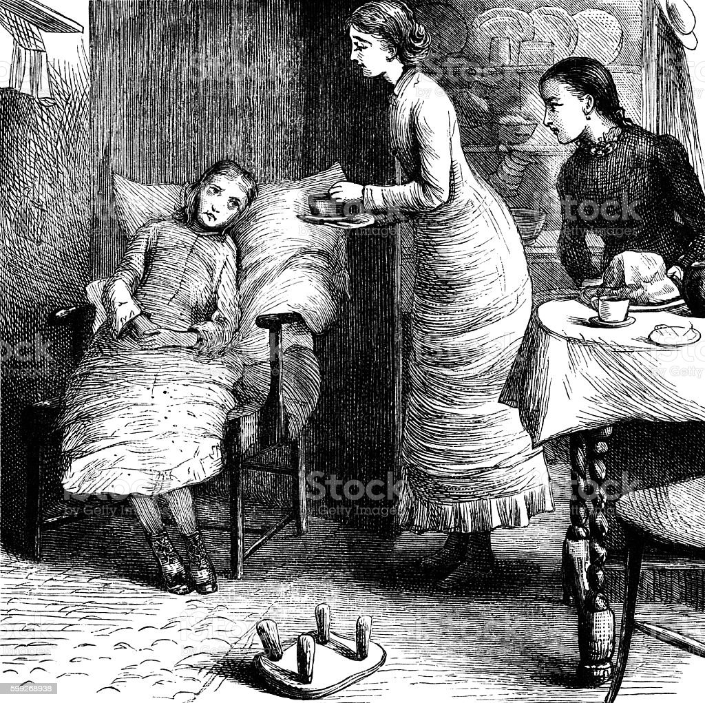 Victorian woman giving tea to an invalid girl vector art illustration