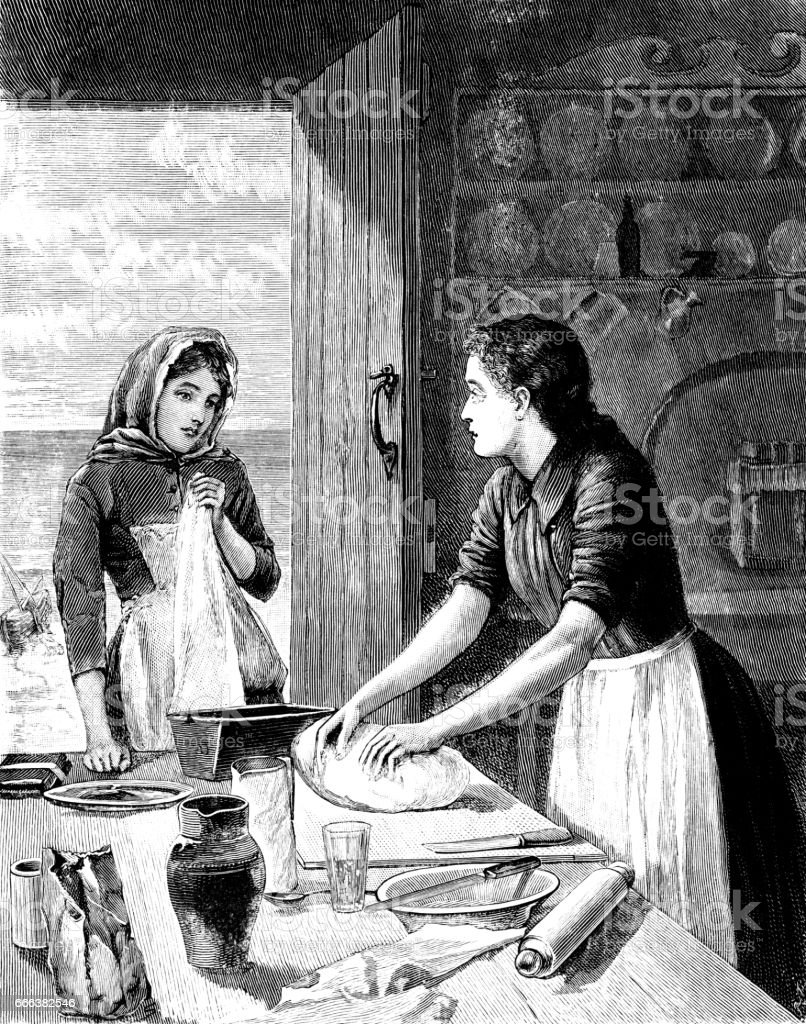 Victorian woman kneading dough vector art illustration