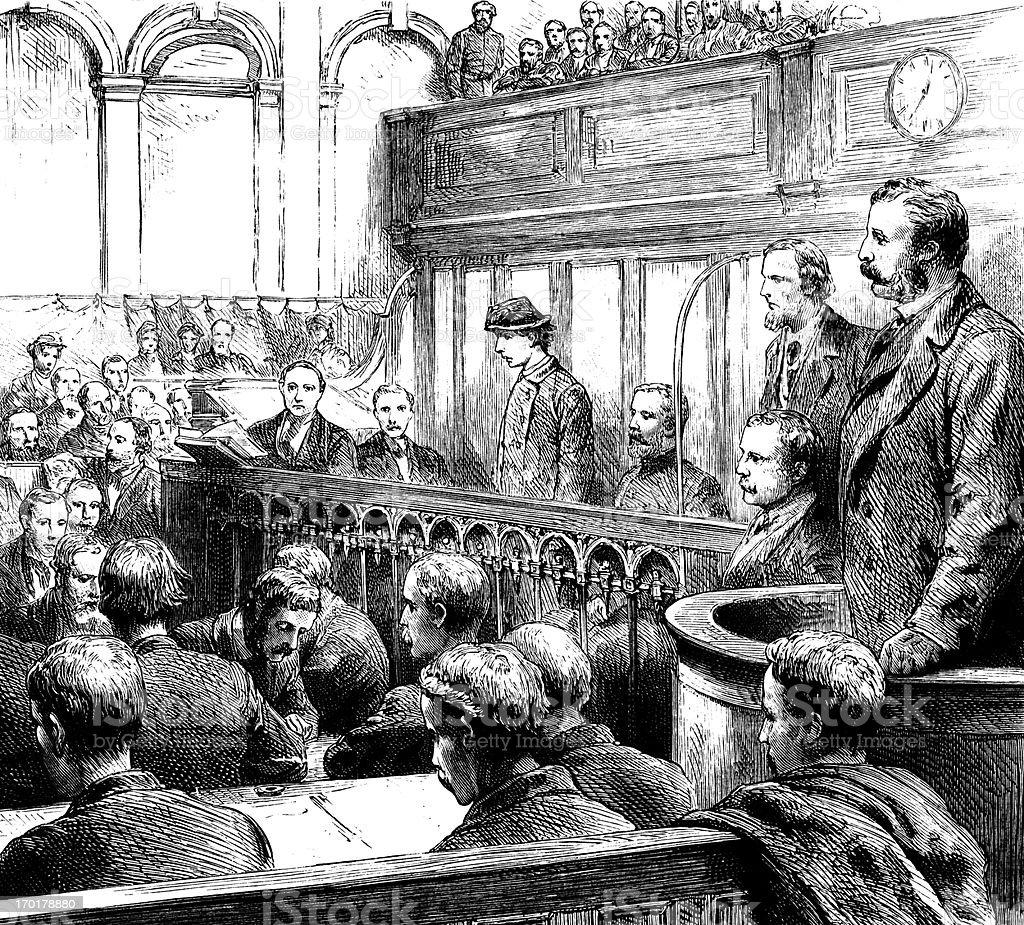 Victorian woman on trial vector art illustration