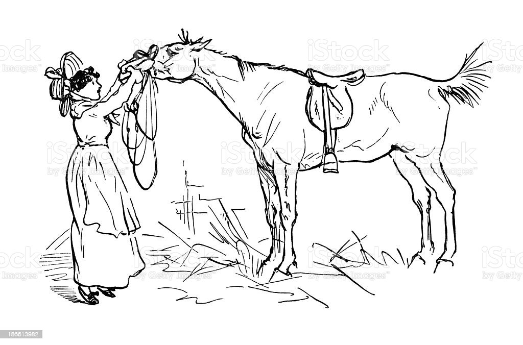 Victorian woman tending to a horse royalty-free stock vector art