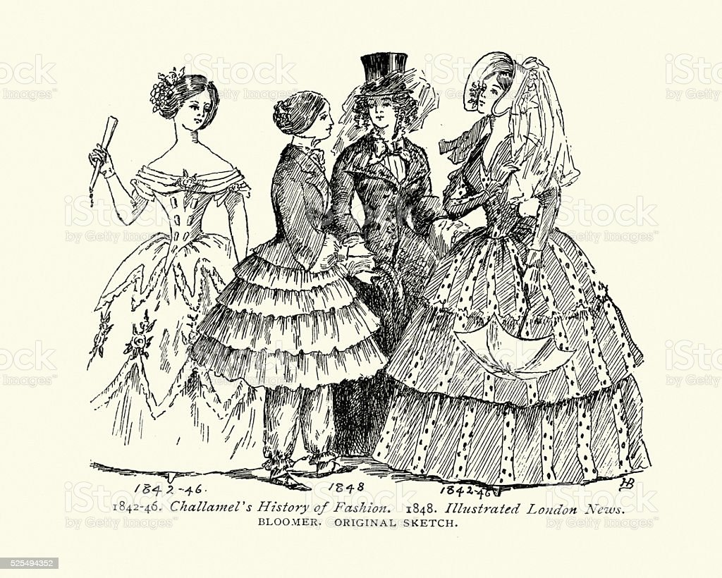 Victorian womens fashion from the mid 19th Century vector art illustration