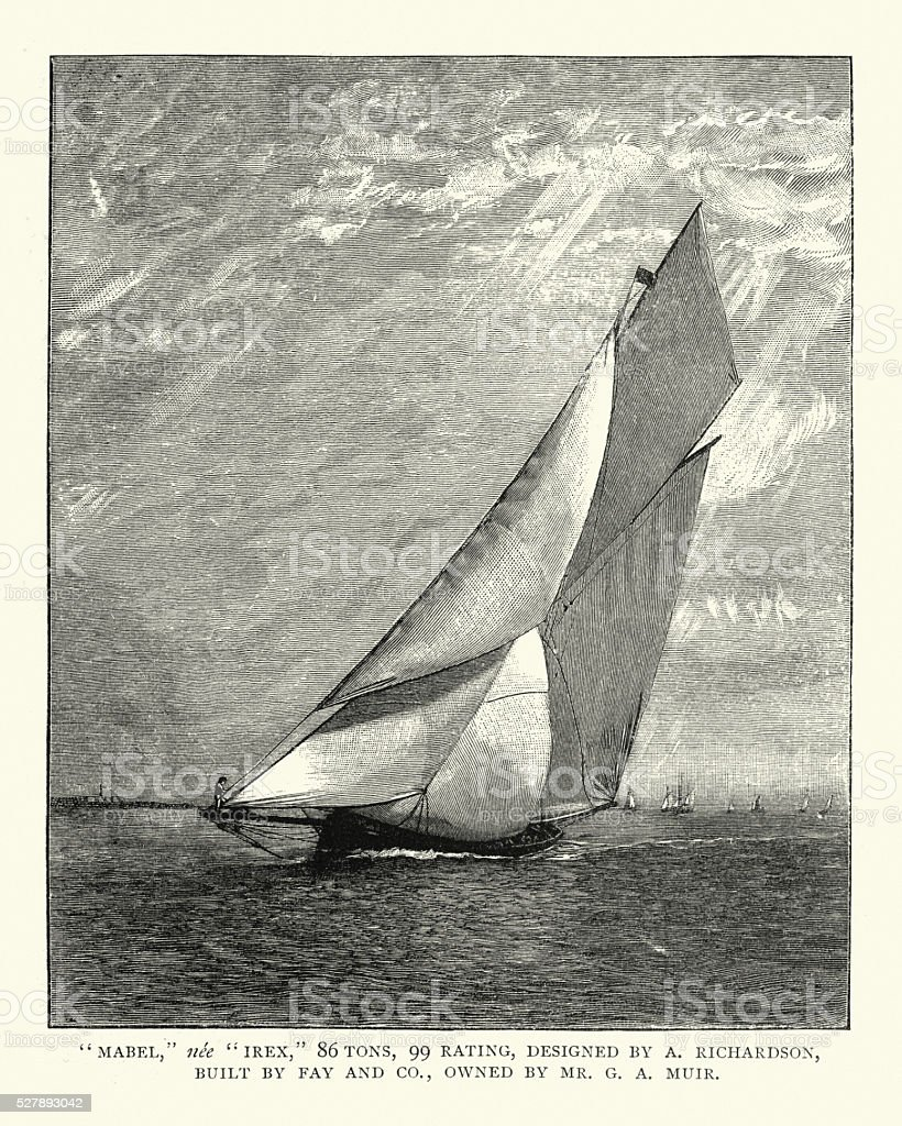 Victorian Yacht, late 19th Century vector art illustration