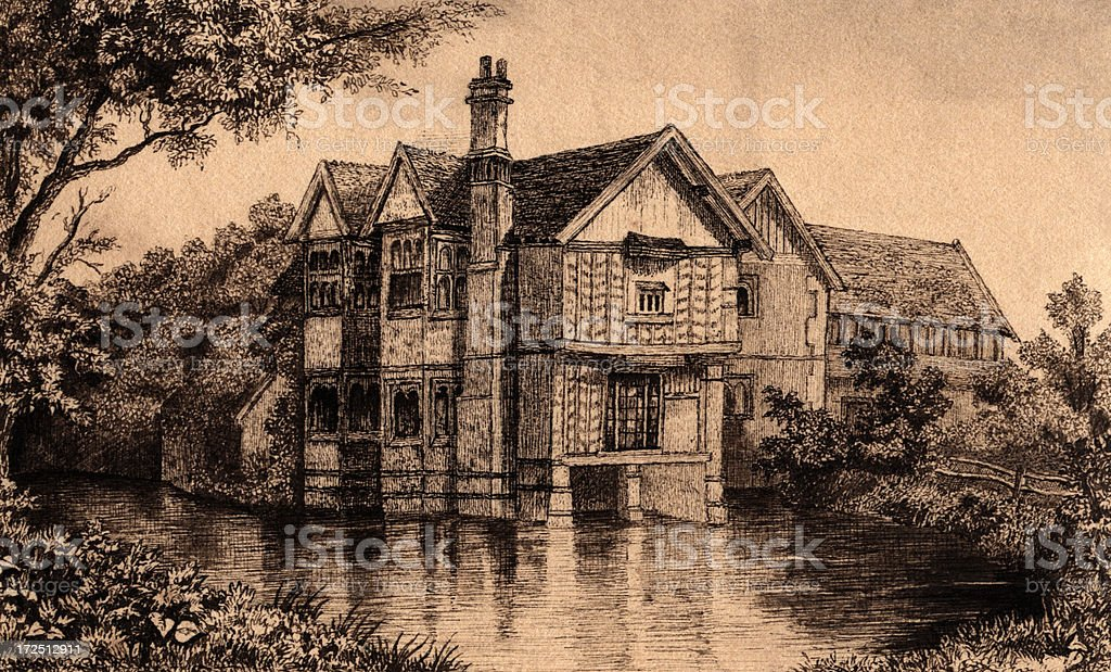 Victorian/Edwardian illustration of a moated manor house vector art illustration
