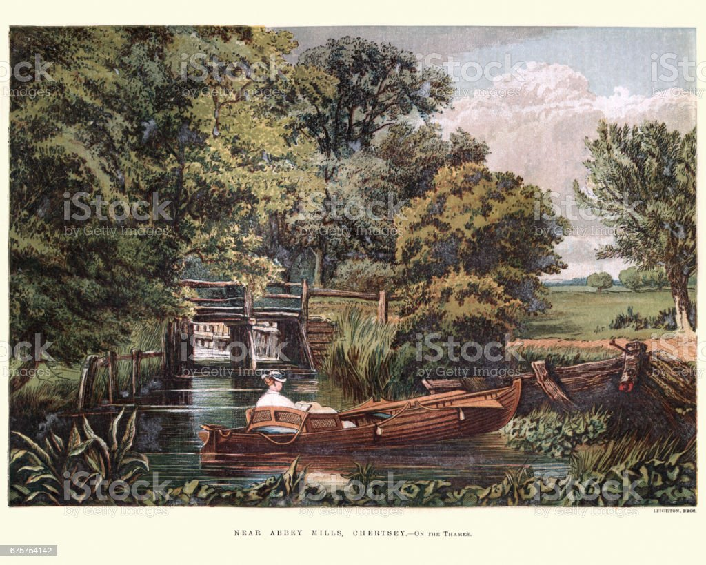 Victorians boating on the Thames, Abbey Mills, Chertsey, 1870 vector art illustration