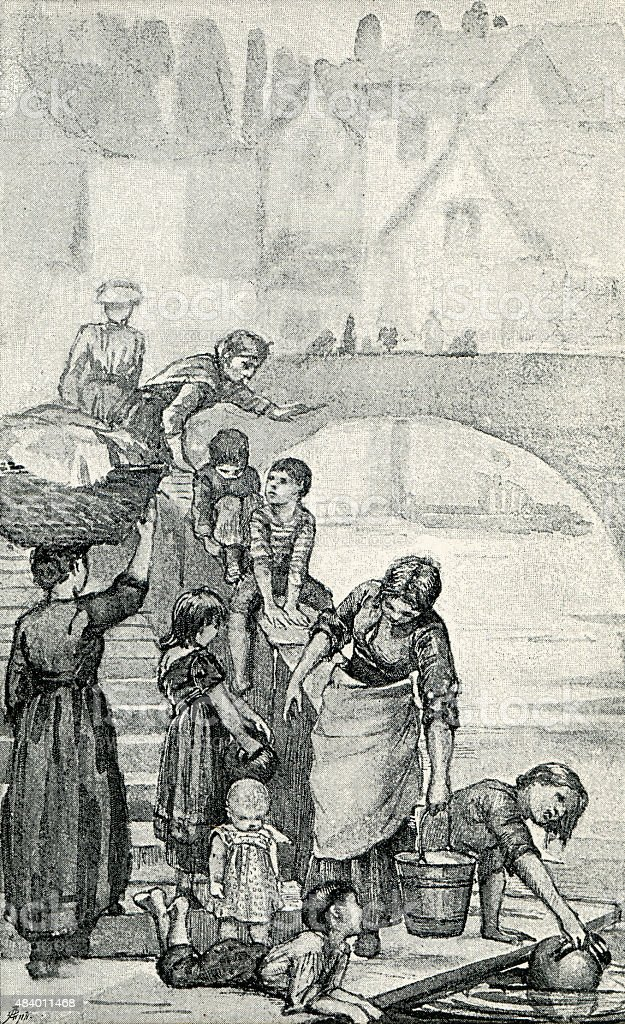 Victorians Gathered at the Thames Embankment vector art illustration