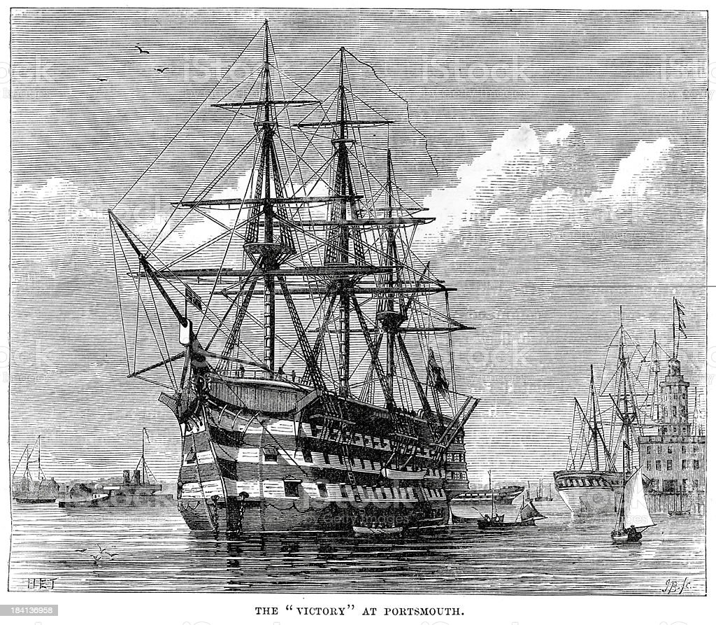 HMS Victory at Portsmouth royalty-free stock vector art