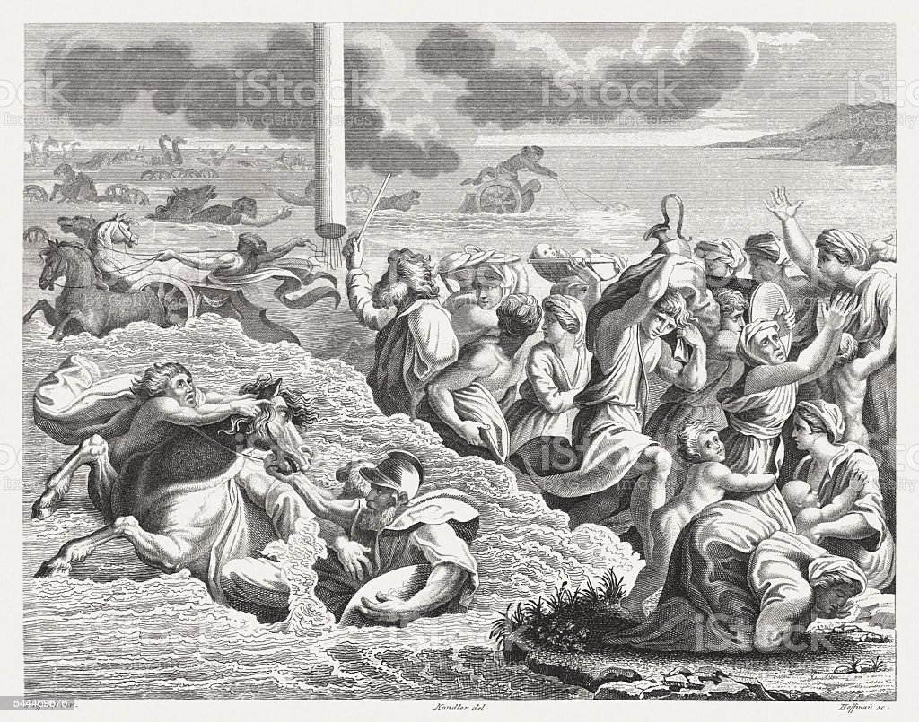 Victory at the Red Sea (Exodus 14), published in 1841 vector art illustration
