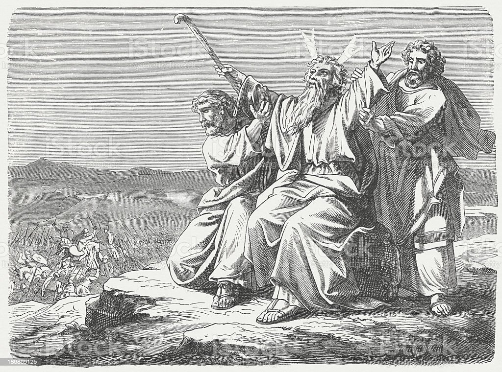 Victory over the Amalekites (Exodus 17), wood engraving, published 1877 royalty-free stock vector art