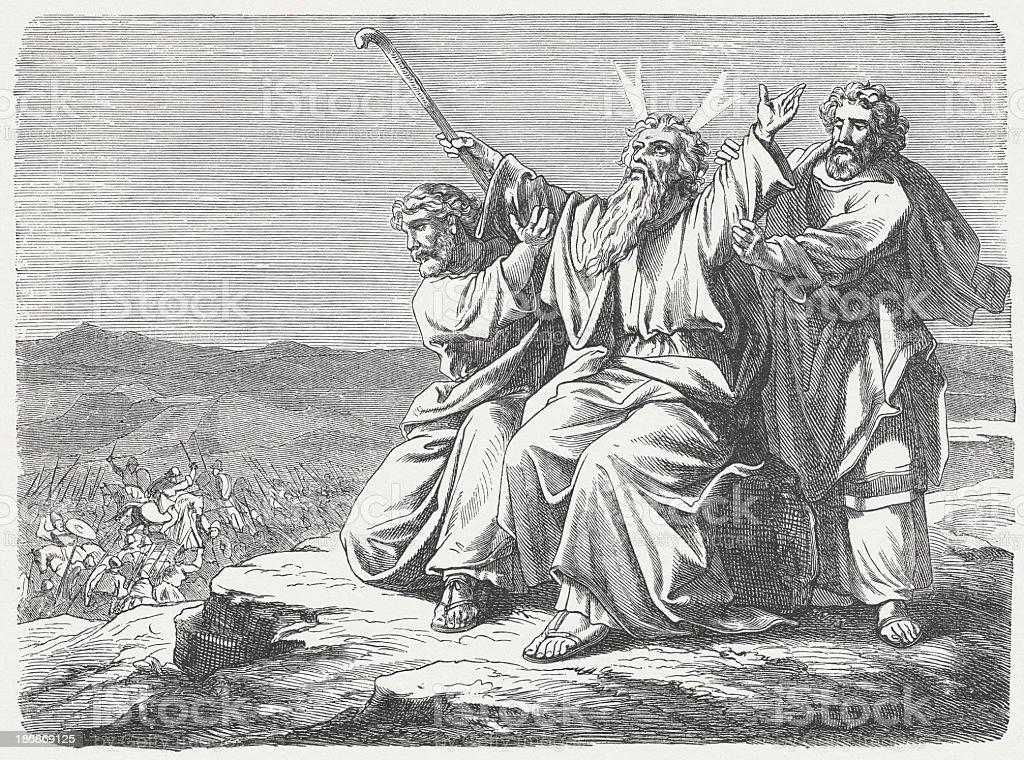 Victory over the Amalekites (Exodus 17), wood engraving, published 1877 vector art illustration