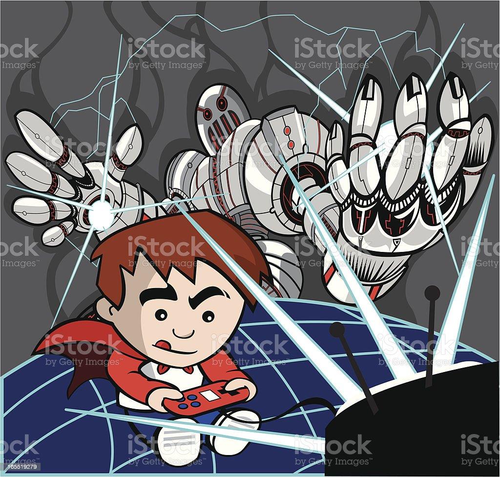 Video Robot Attacks royalty-free stock vector art