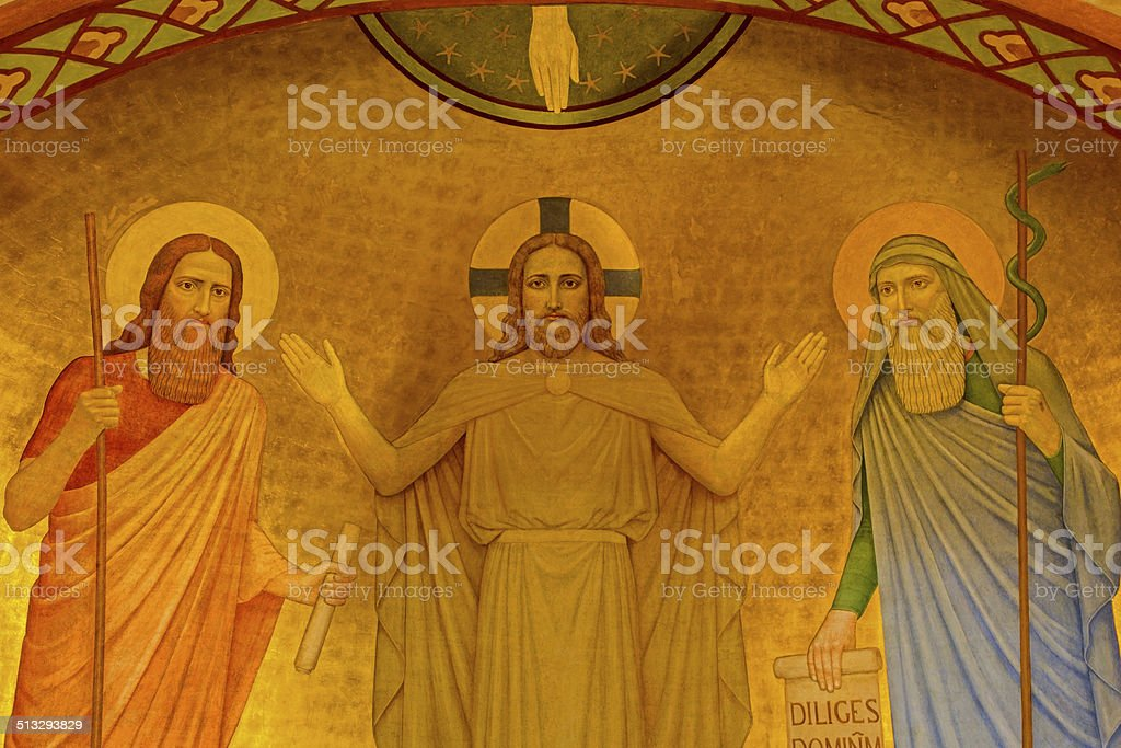 Vienna - Fresco of Jesus with the Moses and Eliah vector art illustration
