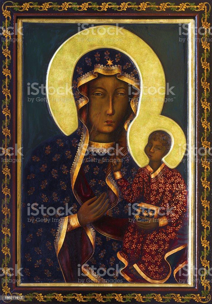 Vienna - Icon of black Madonna in Altlerchenfelder church vector art illustration