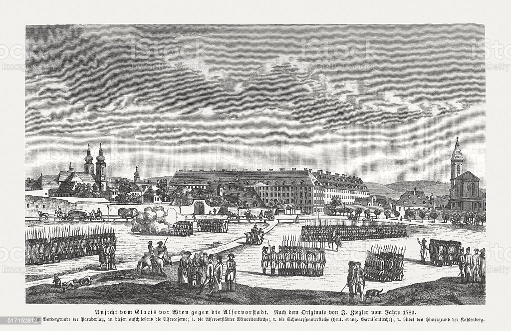 Vienna in the early of the 18th century, published 1884 vector art illustration