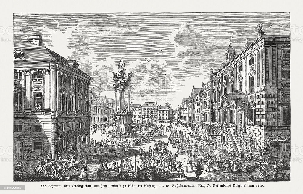 Vienna in the early of the 18th century, published in 1884 vector art illustration