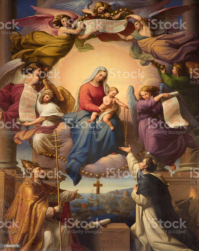 Vienna - Madonna in heaven from Dominicans church vector art illustration