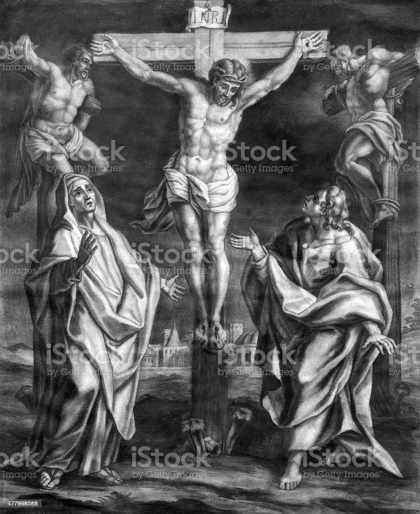 Vienna - The Crucifixion old lithography in Salesianerkirche church vector art illustration