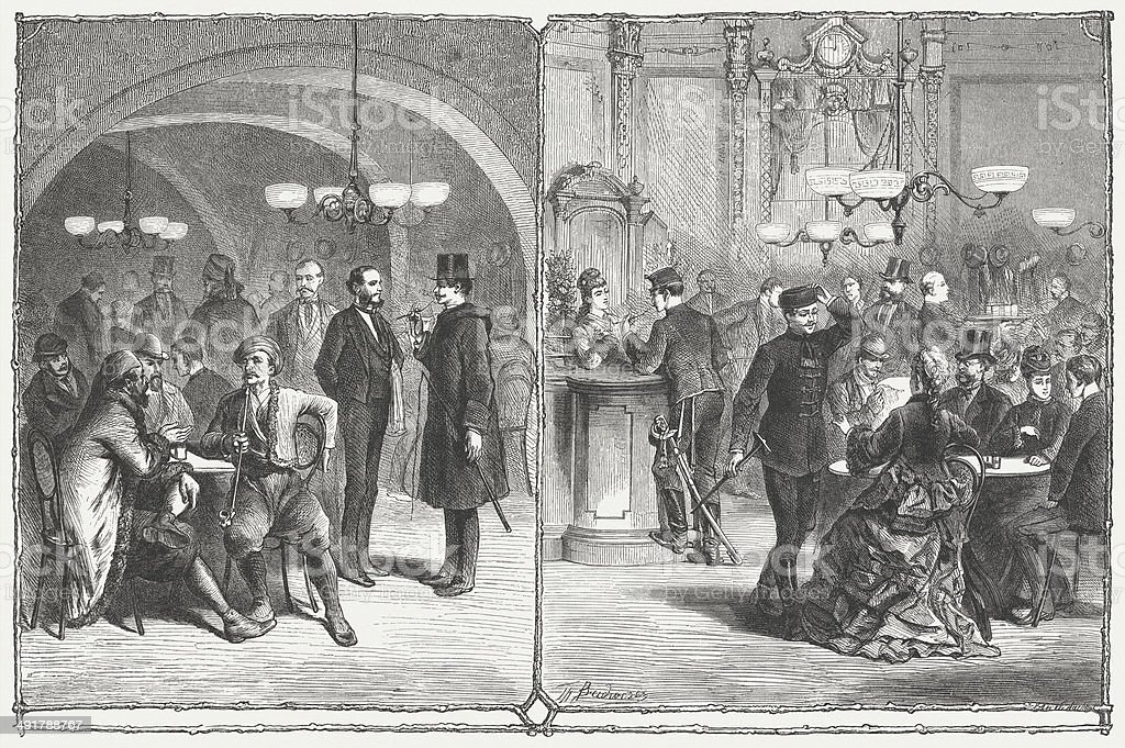 Viennese coffee houses, 19th century, wood engraving, published in 1876 vector art illustration