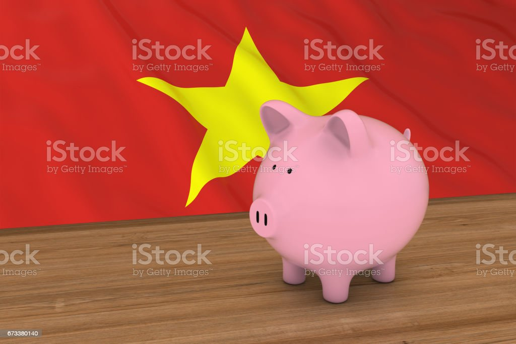 Vietnam Finance Concept - Piggybank in front of Vietnamese Flag 3D Illustration stock photo