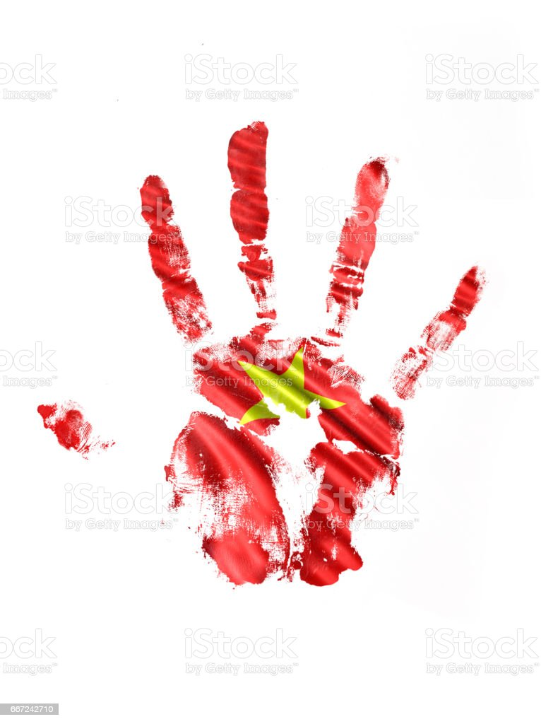 Vietnam Hand Print Flag stock photo