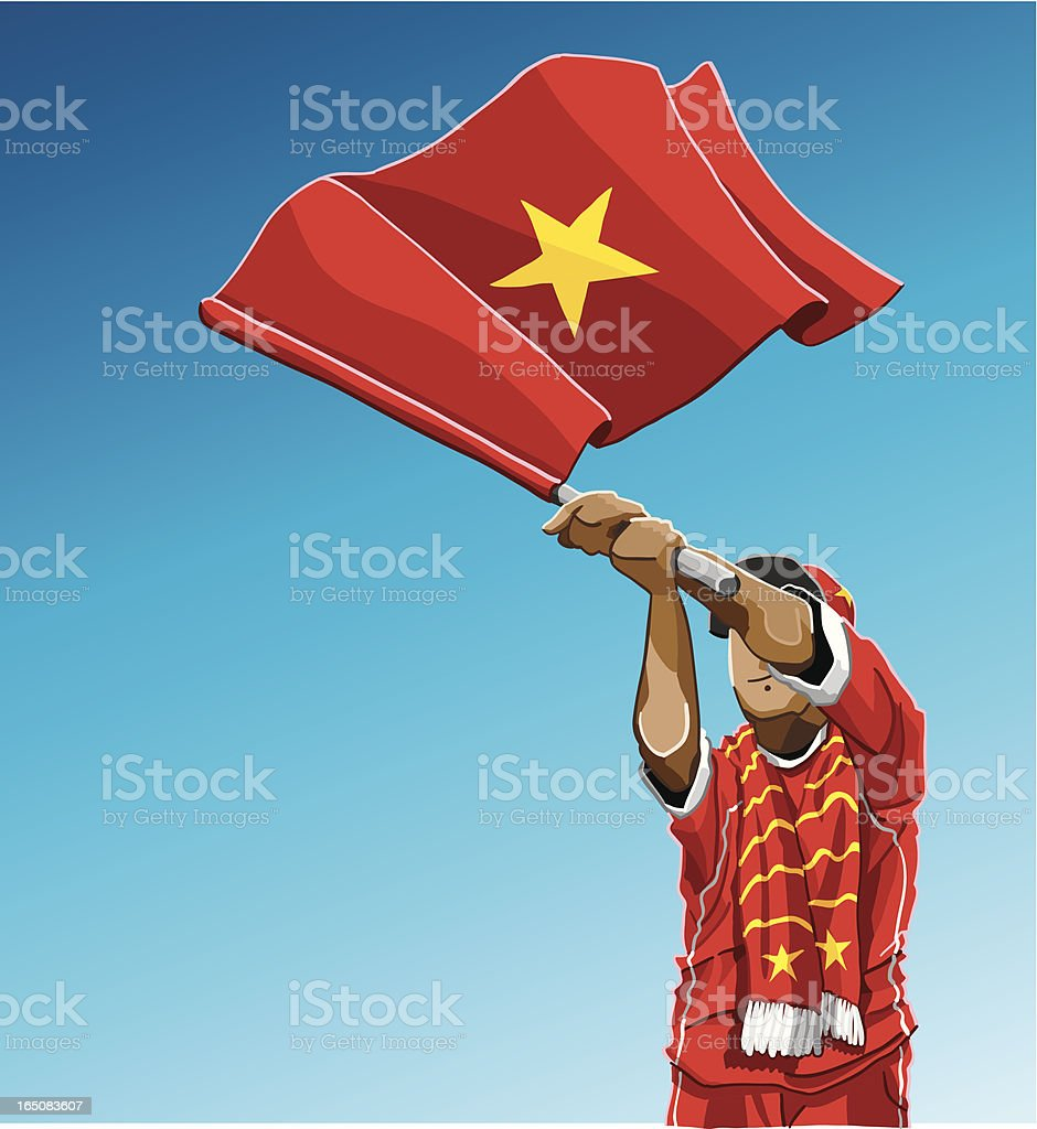 Vietnam Waving Flag Soccer Fan vector art illustration