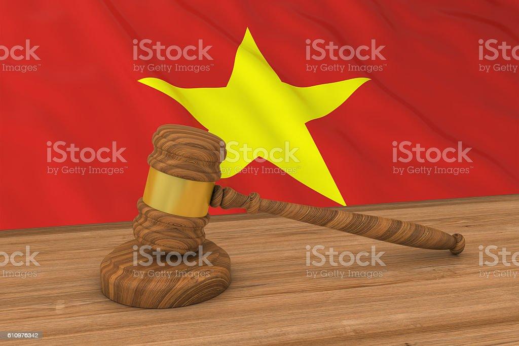 Vietnamese Law Concept - Flag of Vietnam Behind Judge's Gavel vector art illustration