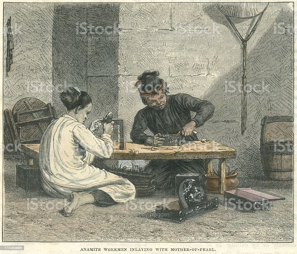 Vietnamese workmen inlaying with mother-of-pearl 19th century 1876 vector art illustration