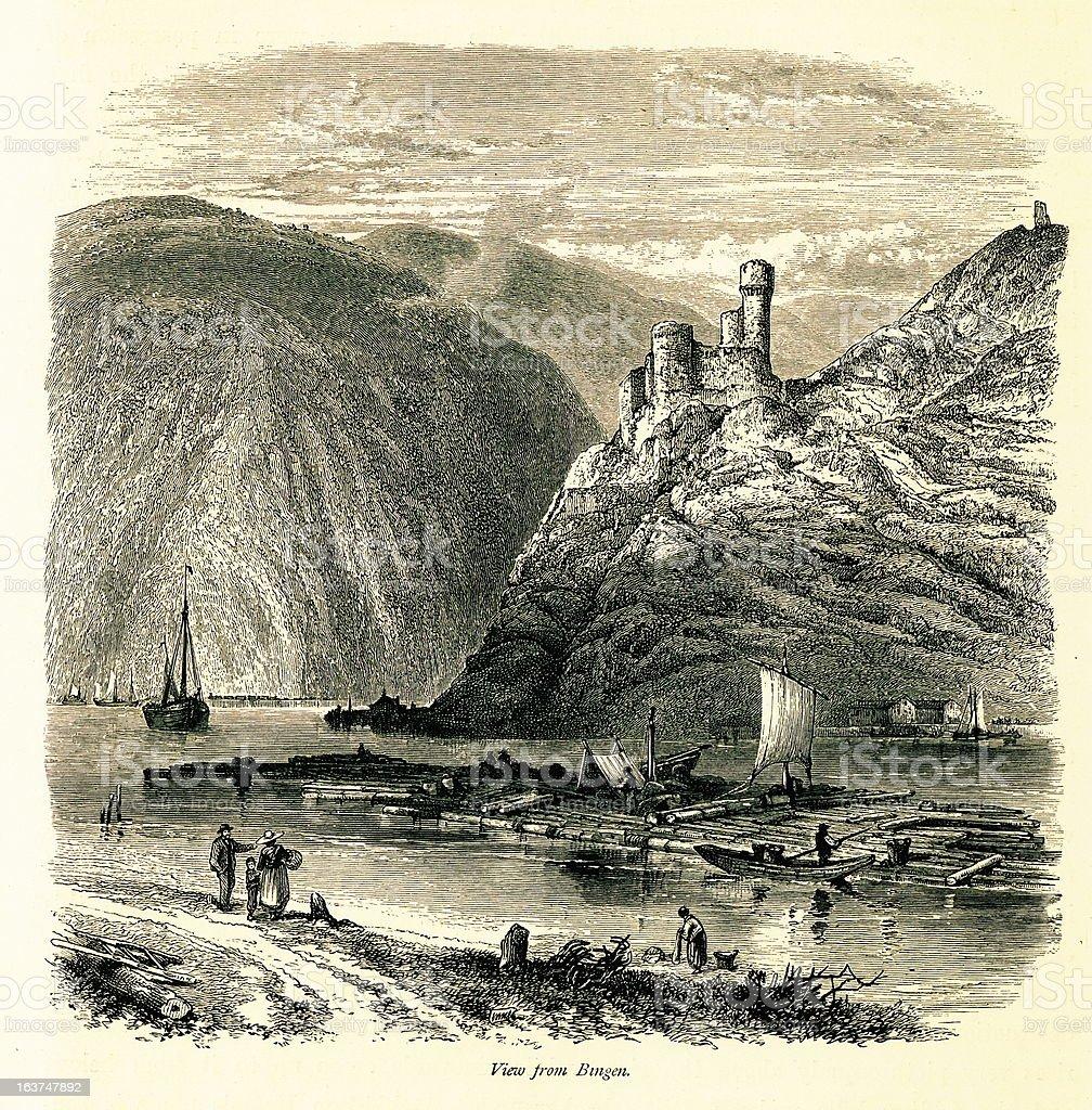 View from Bingen am Rhein, Germany I Antique European Illustrations royalty-free stock vector art