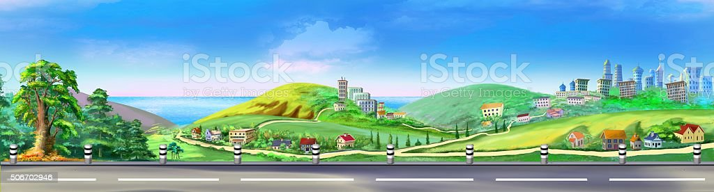 view from the road vector art illustration