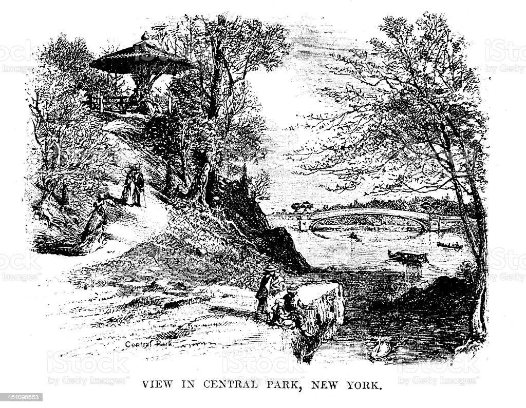 View in Central Park, New York vector art illustration