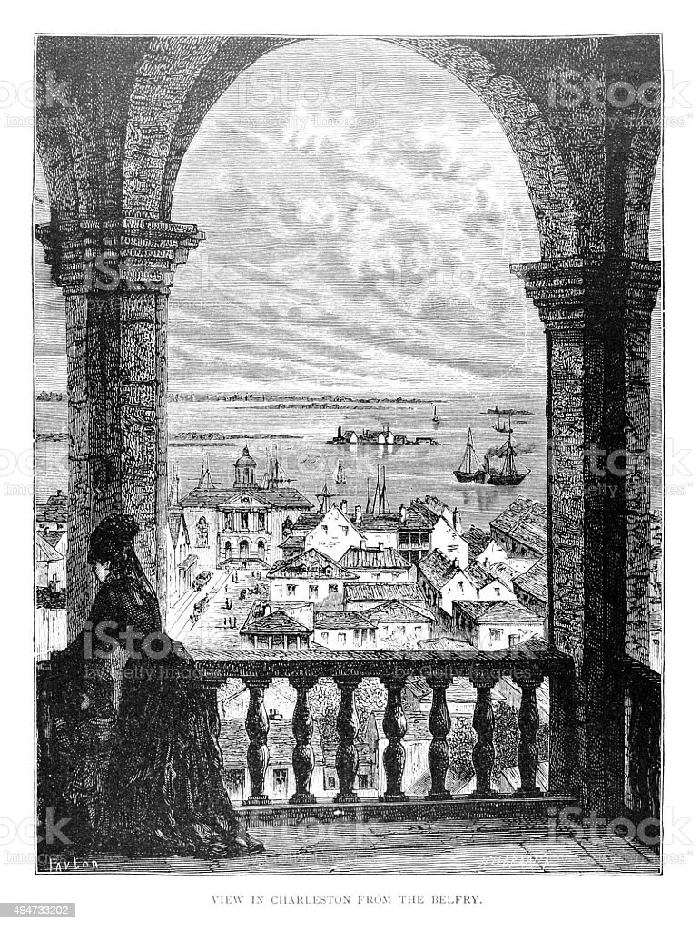 View in Charleston from Belfry vector art illustration