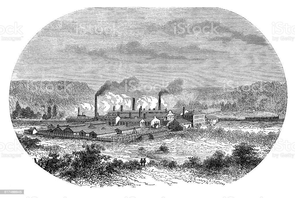 View of Angleur, Belgium (antique engraving) vector art illustration