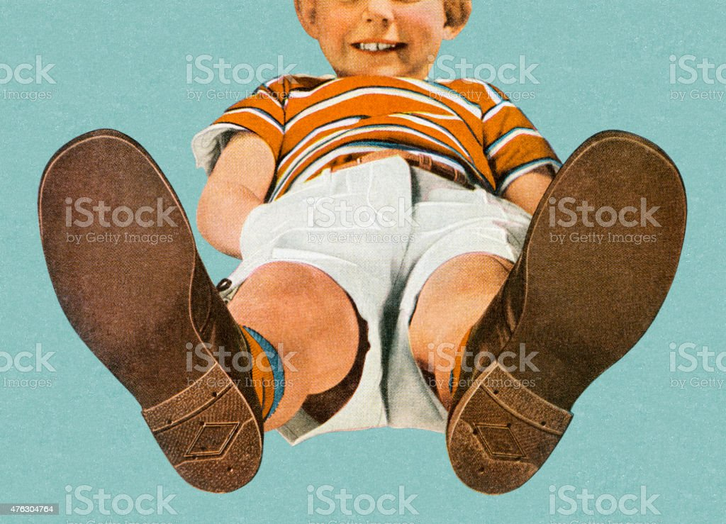 View of Boy From the Feet Up vector art illustration