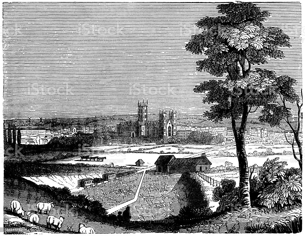 View of Canterbury Cathedral (engraved Victorian illustration) vector art illustration