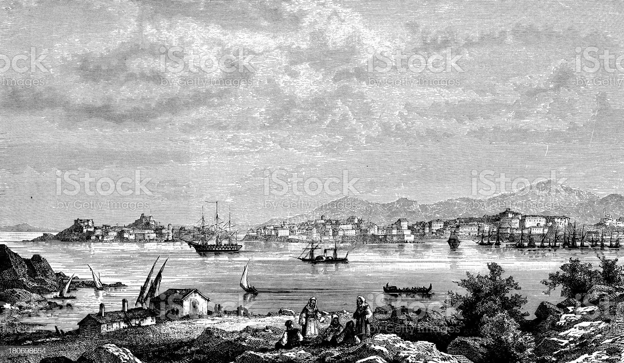 View of Corfu, Greece royalty-free stock vector art