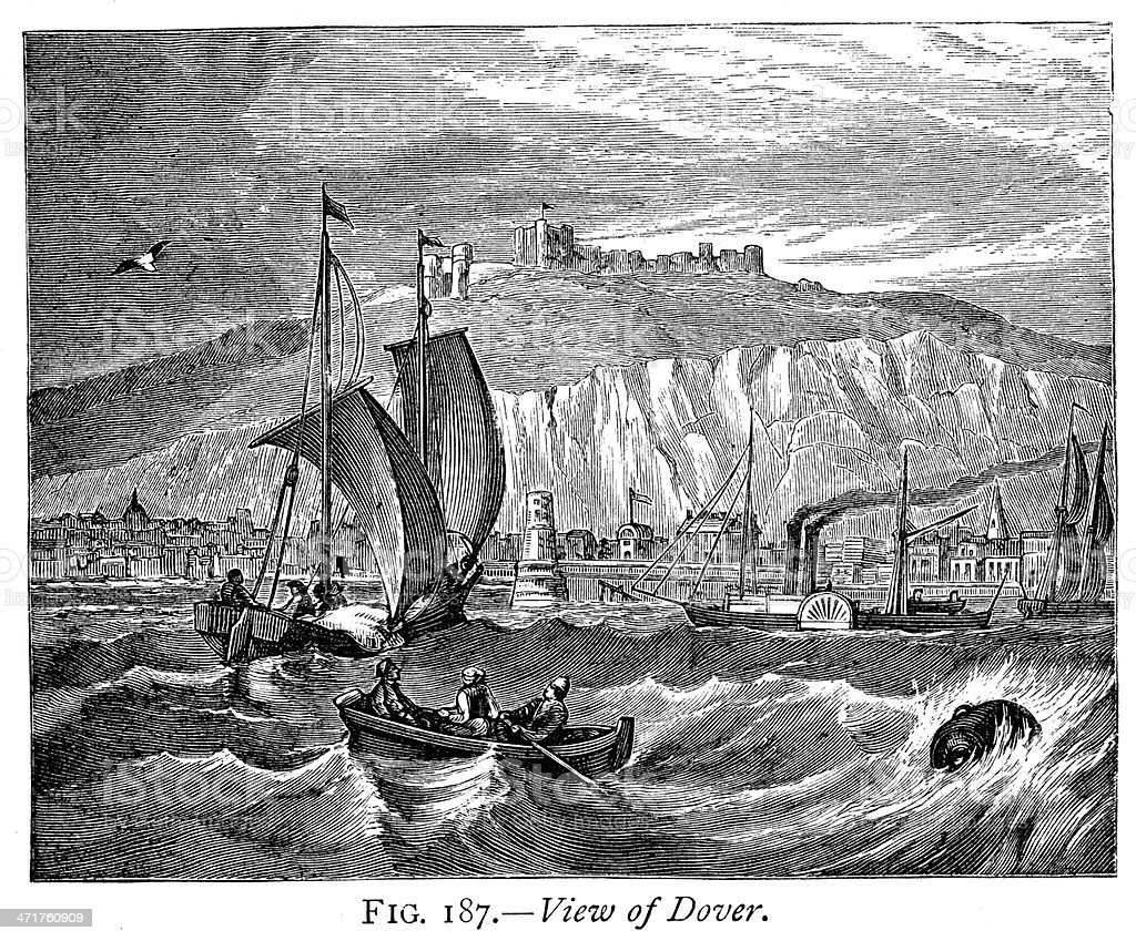 View of Dover vector art illustration