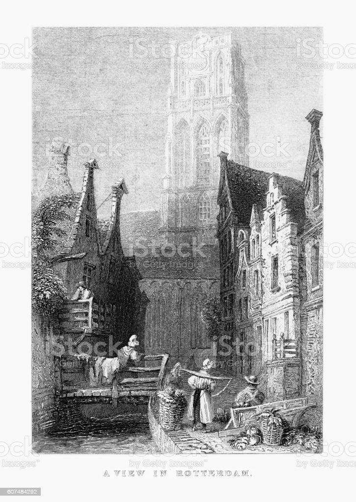 View of Downtown Rotterdam, Netherlands, Circa 1887 vector art illustration