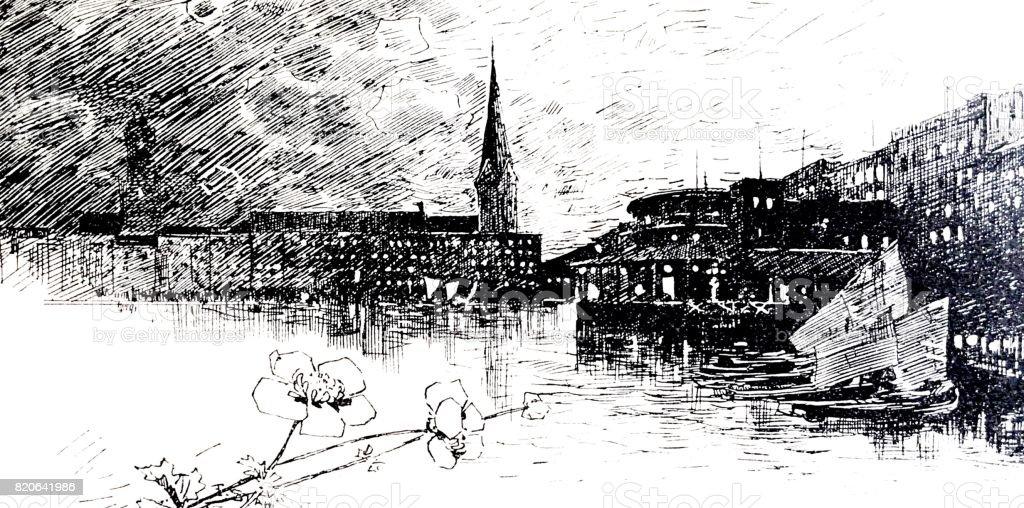 View of Hamburg: Binnenalster, houses and church vector art illustration