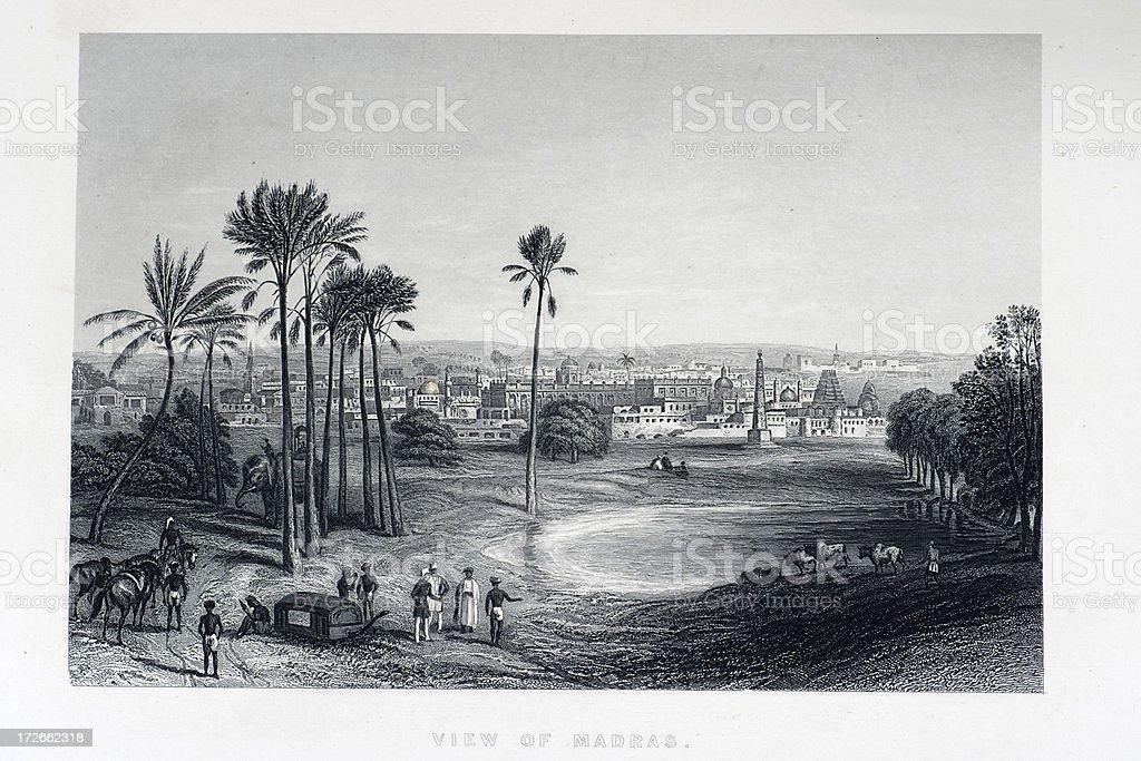 View of Madras vector art illustration