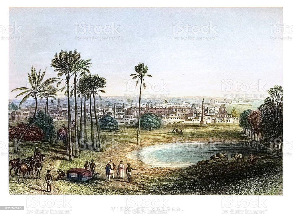 View of Madras, India vector art illustration
