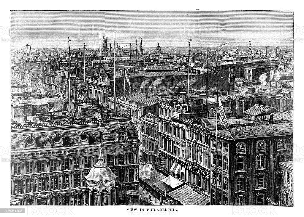 View of Philadelphia vector art illustration