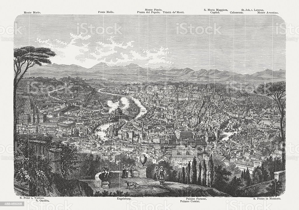 View of Rome from Monte Gianicolo, published in 1878 vector art illustration