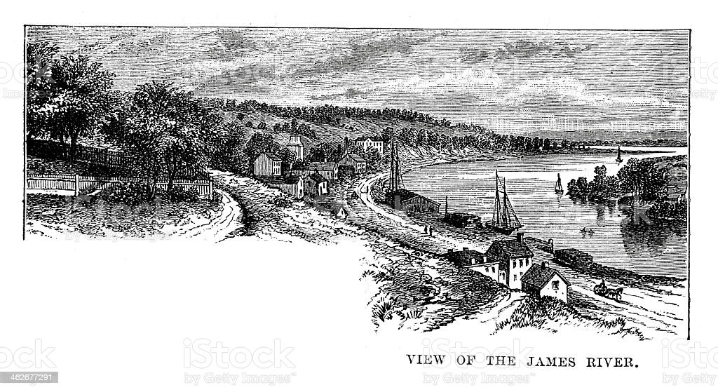 View on the James River vector art illustration