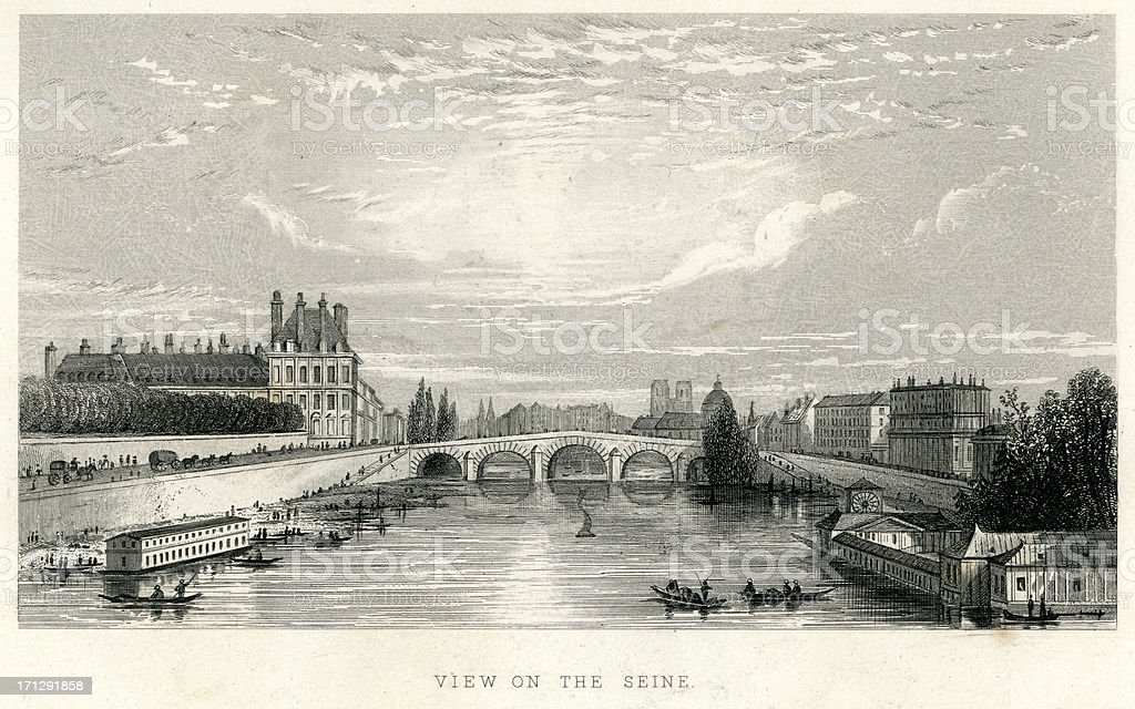 View on the River Seine royalty-free stock vector art