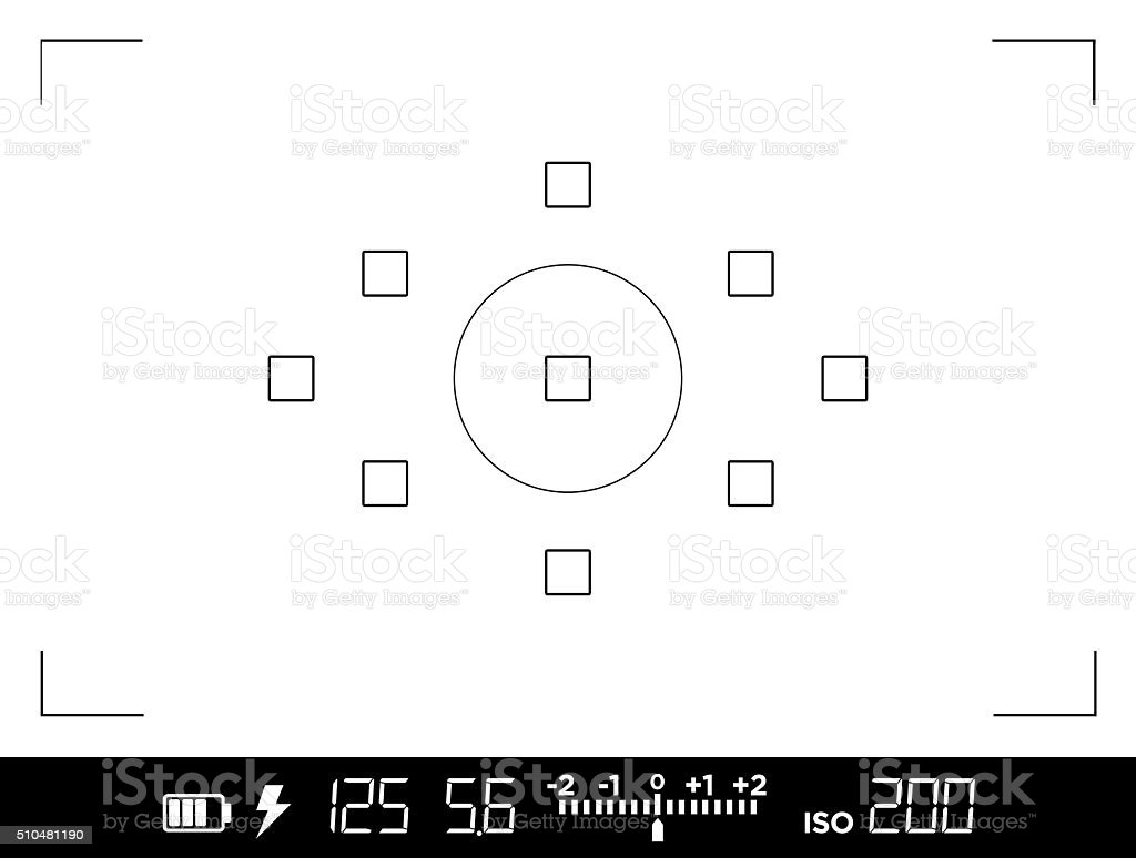 View through the viewfinder of a DSLR camera vector art illustration
