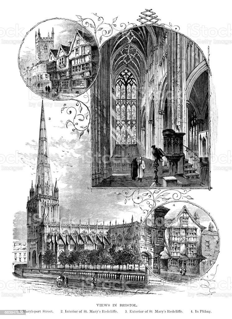 Views in Bristol (Victorian engraving) vector art illustration